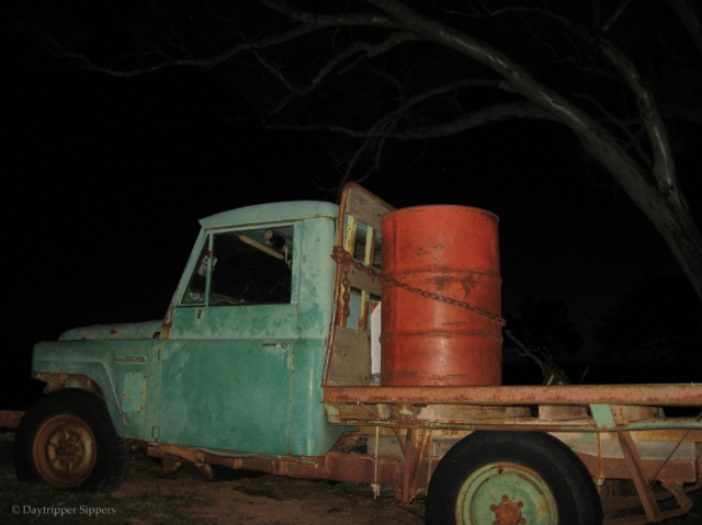 Flat-bed farm truck at night, Yass Valley, New South Wales, Australia