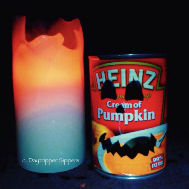 Pumpkin soup tin by candlelight